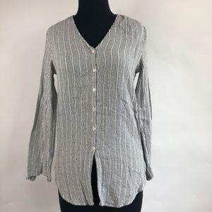 Shirt Blouse Vertical Stripe Button Up Down Sz 6